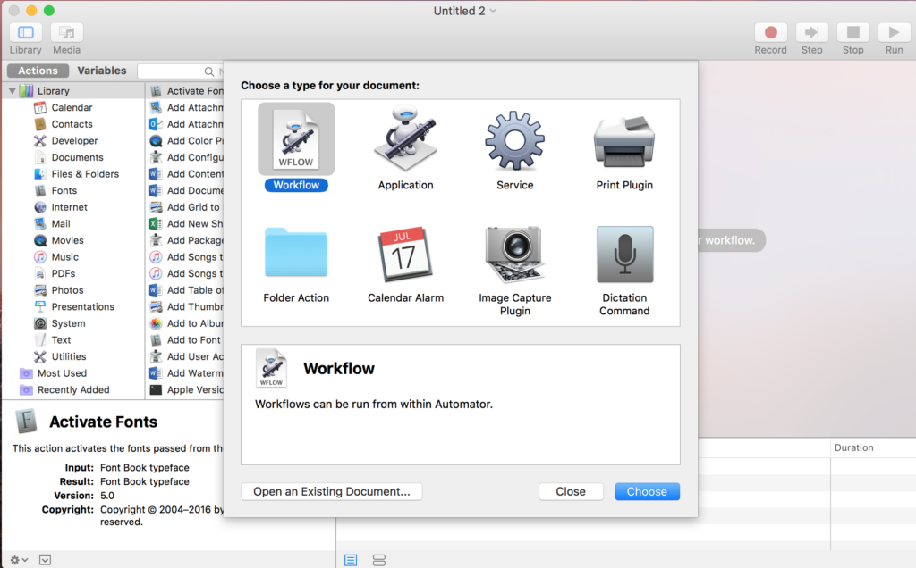Automator initial screen